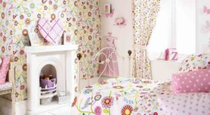 Tkaniny dekoracyjne do pokoju dla dziewczynki, dekoracje w kwiatki pokoju dla dziewczynki, pościel w kwiatki dla dziewczynki