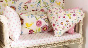 Tkaniny obiciowe w kwiaty do pokoju dla dziewczynki, poduszki w kwiaty dla dziewczynki,