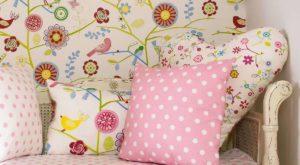 Tkaniny obiciowe w kwiaty do pokoju dla dziewczynki, poduszki w kwiaty dla dziewczynki, różowa poduszka w kropki