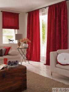 Rolety rzymskie czerwone eleganckie zaciemniające na wymiar do salonu, zasłony rzymskie czerwone do salonu