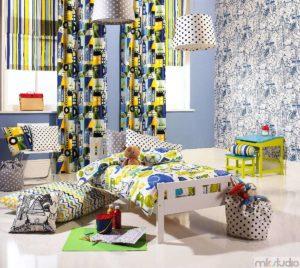 Dekoracje pokoju dziecięcego dla chłopca, aranżacja pokoju dla chłopca, firany i zasłony do pokoju chłopca, pościel i poduszki do pokoju dla chłopca