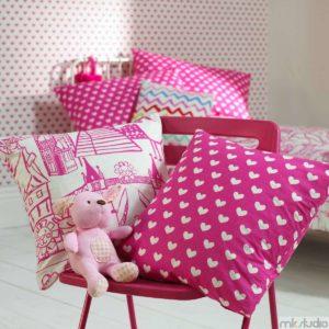 Tkaniny obiciowe do pokoju dziewczynki, poduszki do pokoju dziewczynki, różowy pokój dla dziewczynki