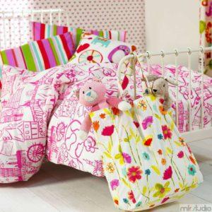 Tkaniny obiciowe do pokoju dziewczynki, poduszki i pościel do pokoju dziewczynki, różowy pokój dla dziewczynki