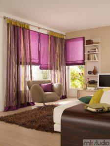 Zasłony rzymskie fioletowe do salonu