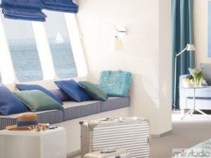 Zasłony rzymskie niebieskie do salonu, rolety rzymskie niebieskie