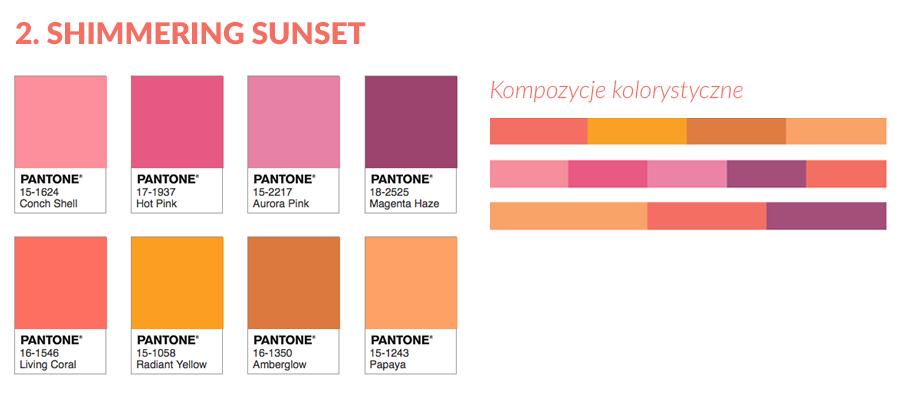 Shimmering Sunset - paleta kolorystyczna z Living Coral