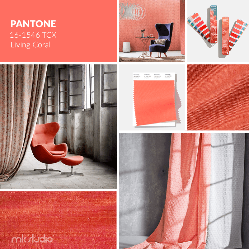 Mood board Living Coral we wnętrzu | BLOG MK Studio